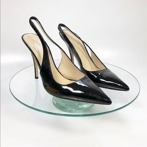 Kate Spade ♠️ Patent Black sling back kitten heels